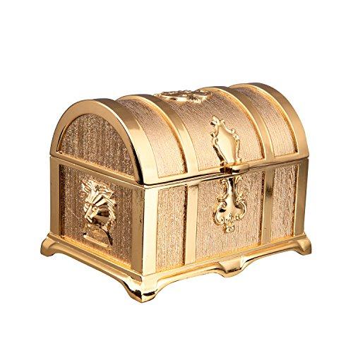 Feyarl Retro Trinket Gold Box Treasure Jewelry Box Rectangle Box Metallic Finished Box (Large)