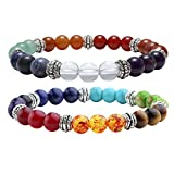 JOVIVI 2pc 7 Chakras Yoga Meditation Healing Balancing Round Stone Beads Stretch Bracelet Set, with Gift Box,Valentines Gifts