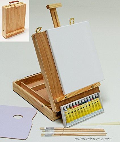 TISCHSTAFFELEI+ MALSET, 12 Acrylfarben, Pinselset + Keilrahmen - 20-teilig, Utensilienkoffer, Kofferstaffelei