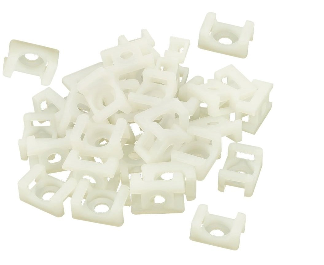 iExcell 100Pcs White 4.5mm Cable Tie Mount Wire Buddle Saddle Holder