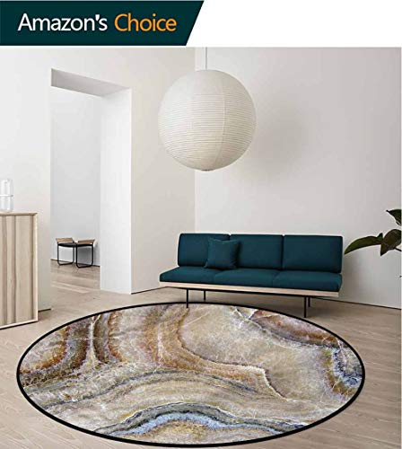 RUGSMAT Marble Modern Machine Washable Round Bath Mat,Surreal Onyx Surface Perfect for Any Room, Floor Carpet Diameter-24