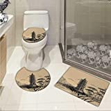 Carl Morris Asian toilet floor mat set Old Stone Tiered Tower Vintage Taoist House of Faith Historical Illustration 3D digital printing Rug Set Pale Brown Black