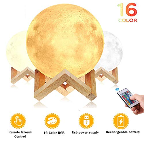 Moon light, Mkstuary Moon Lamp 5.9 inch with 16 colors, 3D Printed Moon Light with 5 Adjustable Brightness Touch Control, Moon Light for Kids Women, USB Rechargeable Decorative Night Light