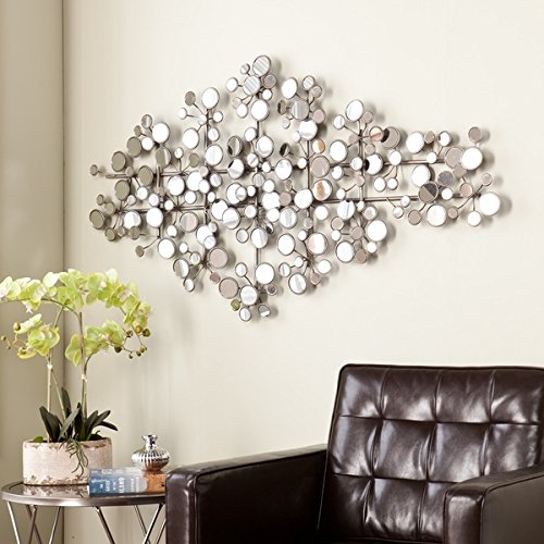 Amazing Olivia Antique Silver Finish Metal Mirrored Wall Sculpture