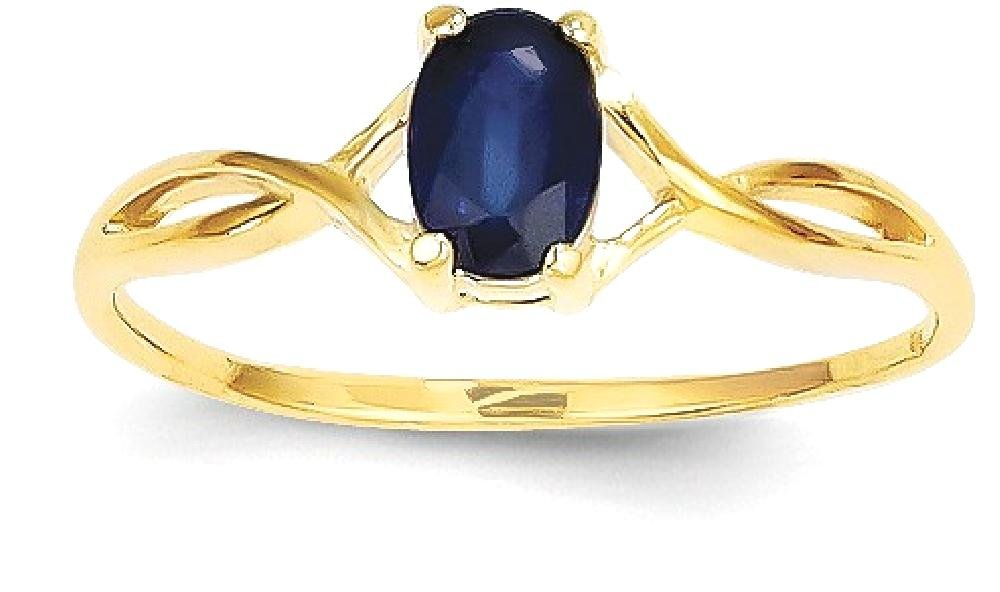 ICE CARATS 14k Yellow Gold Sapphire Birthstone Band Ring Size 7.00 Stone September Oval Style Fine Jewelry Gift Set For Women Heart