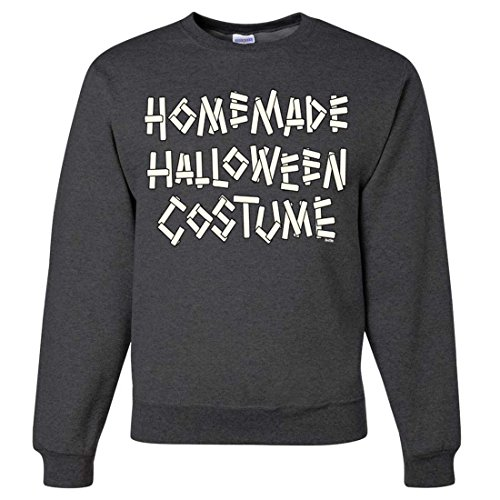 Homemade Halloween Costume Crewneck Sweatshirt - Black Heather 3X-Large (Homemade Halloween Costumes For Men)