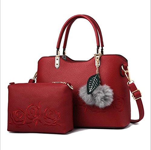 LXYIUN Mujeres Moda PU Mano Bolso De Cuero,Impresión De Dos Piezas Bolso Bolso De Crossbody Bolso De La Madre Bordado,Brown Red