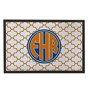 Personalizar elegante Quatrefoil Felpudo naranja personalizado alfombra antideslizante lavable a máquina. Parte delantera Felpudo alfombra para entrada forma geométrica 23,6x 15,7Felpudo al aire libre Personalizado regalo de inauguración de la casa