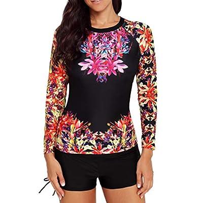 Yateen Women's Long Sleeve Sun Protection Rash Guard Wetsuit Two Piece Swimsuit Set at Women's Clothing store