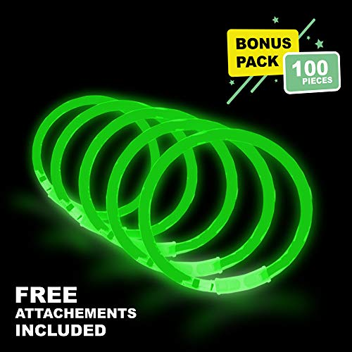 Lumistick 10 Inch Glow Stick Bracelets | Non-Toxic & Kids Safe Light Up Neon Handwear | Party Pack Bendable Light Sticks with Connectors | Glows in The Dark Chem Lights (Green, 100 Glow Sticks)]()