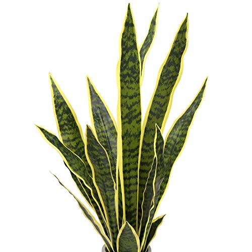 Summer Flower 21pcs Fake Snake Plant Leaves Set,23inch Tall Faux Sansevieria Plants Outdoor,Artificial Snake Plant Leaf…