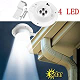 Solar Lights, Prevently Brand New New 4 LED Solar Powered Gutter Light Outdoor/Garden/Yard/Wall/Fence/Pathway Lamp (White)