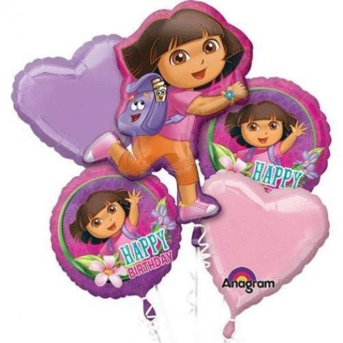 Nicekeleon Dora the Explorer Balloon Birthday Party Favor Supplies 5ct Foil Balloon Bouquet -