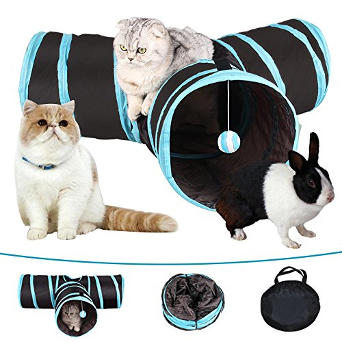 MYIDEA Collapsible Cat Tunnel Tubes Toys - Fun Run Crinkle Play Tunnels for Pets Kittens Rabbits (3 Way, Blue)