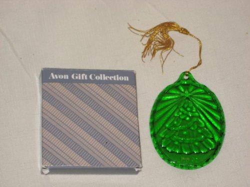 Vintage Avon Fostoria Ornament Collection - Green Crystal Christmas Tree - Christmas Tree Ornament