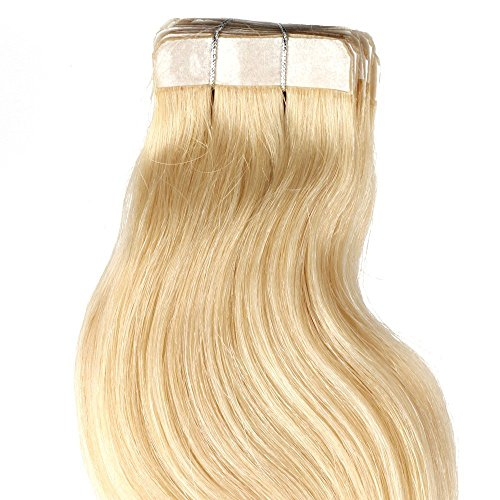 BThairbox 20 Inches Platinum Blonde #60 40pcs 88g Tape In Human Hair Extensions Body Wave Style
