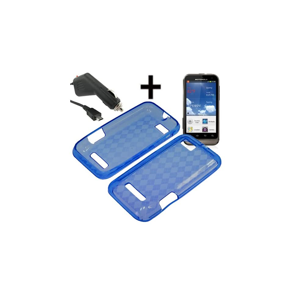 BC TPU Sleeve Gel Cover Skin Case for U.S. Cellular Motorola Defy XT XT556 + Car Charger Blue Checker Cell Phones & Accessories