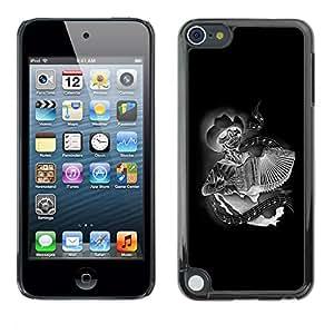Shell-Star Arte & diseño plástico duro Fundas Cover Cubre Hard Case Cover para Apple iPod Touch 5 ( Black Accordion Player Skull Cowboy )