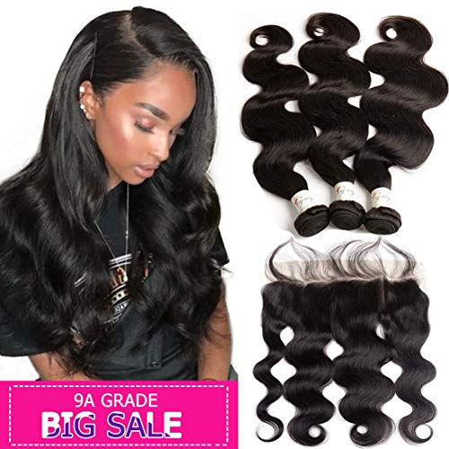 "9A Grade Body wave bundles with frontal 10"" 12"" 14"" and 10"" Brazilian Human Hair 3 Bundles with Lace Frontal with Baby Hair Ear to Ear Lace Frontal Closure with Brazilian Virgin remy Hair Extensions ()"