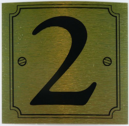 eCobbler Metalic Stick On Door Numbers 0 To 9In Gold - Number 2 by eCobbler