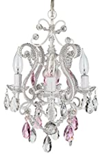 "'Tiffany Collection' All Authentic Pink and Clear Crystal Swag Mini Chandelier Lighting with 4 Lights, W10.75"" X H13.5"""