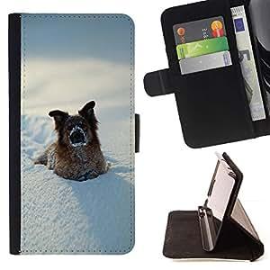 Momo Phone Case / Flip Funda de Cuero Case Cover - Divertido perro Invierno En Nieve - MOTOROLA MOTO X PLAY XT1562