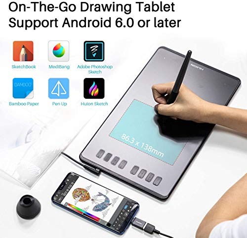 Huion Inspiroy H950P Graphics Drawing Tablet with Tilt Response Battery-Free Stylus and 8192 Pen Pressure
