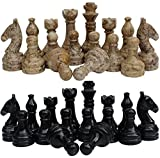 marble chess pieces RADICALn Black and Light Brown Marble Big Chess Figures - Complete 32 Figures - Suitable for 16 to 20 inches Chess Board