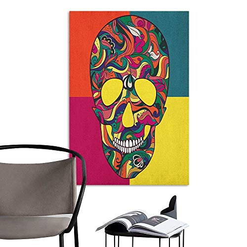 Jaydevn Decals for Home Room Decoration Sugar Skull Colorful Calavera Themed Artwork Catrina Day of The Dead Mexican Culture Theme Multicolor Children's Room Wall W8 x -