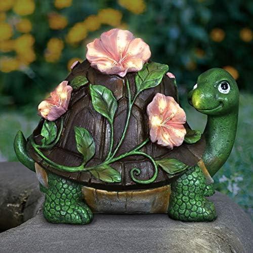 Exhart Solar Turtle Garden Statue w/LED Light Pink Flower Blossom Decor Flower Art Turtle Weather-Resistant Resin UV