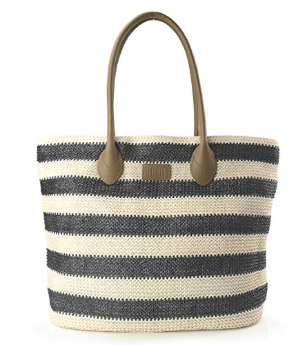 Striped Synthetic Straw Womens Tote Light Weight Vaction Shoulder Handbag (New Black) (Striped Womens Handbag)