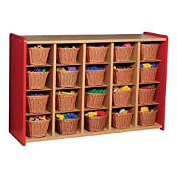 Color Coordinated Red Divided Storage (Shown With Baskets- Sold Separately)