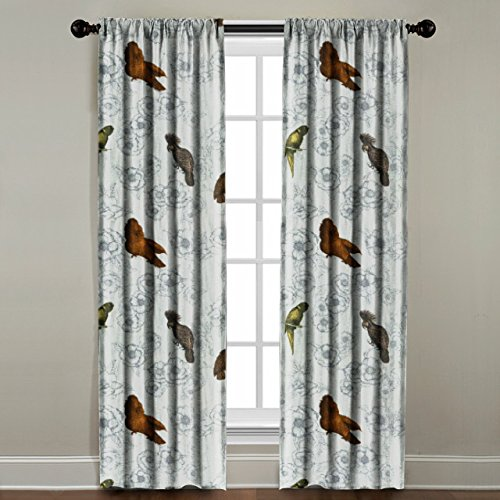 The Pillow Collection Rod Pocket Birds on Floral Window Panel, 120'' Long, Multi