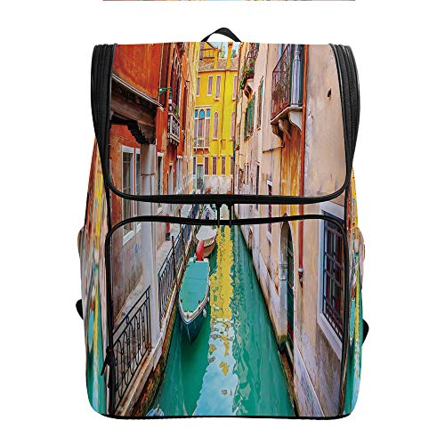 SCOCICI Flap Daypack,Colorful Venice View Canal,with Zip Closure/Side Pockets