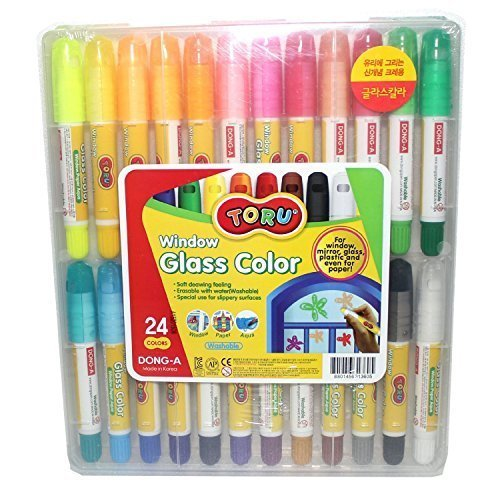 Dong-a Toru Window Glass 24 Color Crayon Marker for Window,mirror,glass,plastic