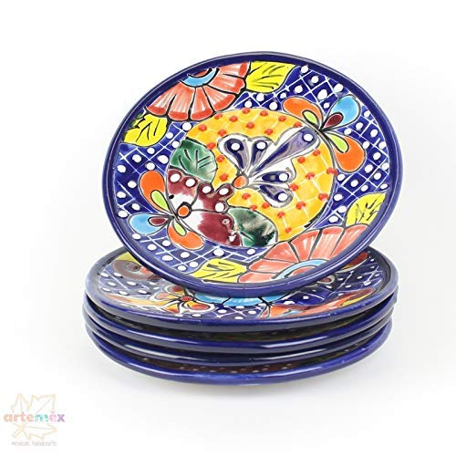 - Mexican Talavera Plates - Mexican Dishes - Mexican Plates - Salad Plates - Mexican Kitchen Decor - Talavera Plates - Handpainted Plates - SET OF 4 Salad Plates