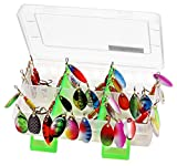LotFancy Fishing Lure for Bass Trout Walleye Salmon, 30pcs Spinner Lures with Portable