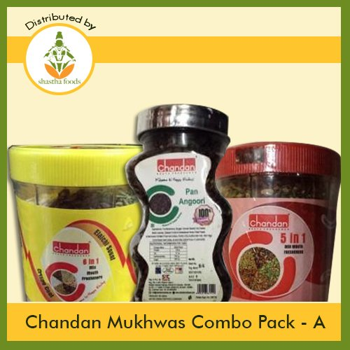 Chandan Mukhwas (Combo Pack A) Contains 3 Items (Chandan 5 in 1 mix 230g, Pan Angoori 125g & Chandan 6 in 1 Mix 230g) B-B