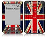 Painted Faded and Cracked Union Jack British Flag - Decal Style Skin fits Amazon Kindle 3 Keyboard (with 6 inch display)
