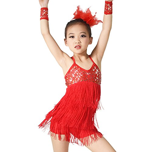 MiDee Latin Dress Dance Costume 3 Colors Camisole Sequins Tassels Skirt for Girls (XSC, (Red Sequin Dance Costumes)