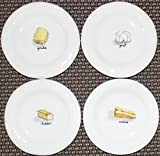Rae Dunn by Magenta 6'' Cheese Canape/Dessert/Appetizer Plates - Set of 4 - Each plates as a different design
