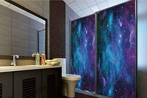 Horrisophie dodo 3D Privacy Window Film No Glue,Space Decorations,Galaxy Stars in Space Celestial Astronomic Planets in The Universe Milky Way Print,Navy Purple,47.24