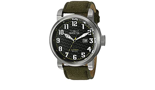 844c9da39 Invicta Men's 'Aviator' Japanese Automatic Stainless Steel and Canvas  Casual Watch, Color: Green (Model: 23073): Invicta: Amazon.ca: Watches