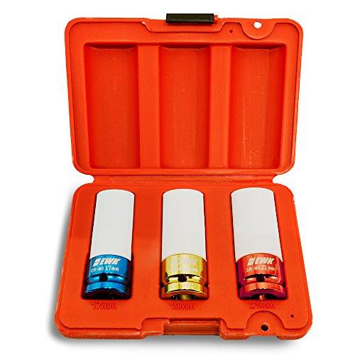 - EWK Lug Nut Remover Thin Wall Impact Socket Sleeve Set Tire Wheel Protection Non Marring 17 19 21 mm