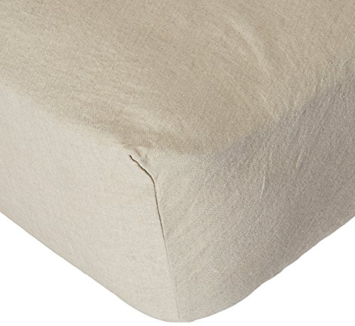 LinenMe Stone Washed Bed Linen Fitted Sheet, 60 by 80 by 14-Inch, Natural 51  2BG 2BNTsGL