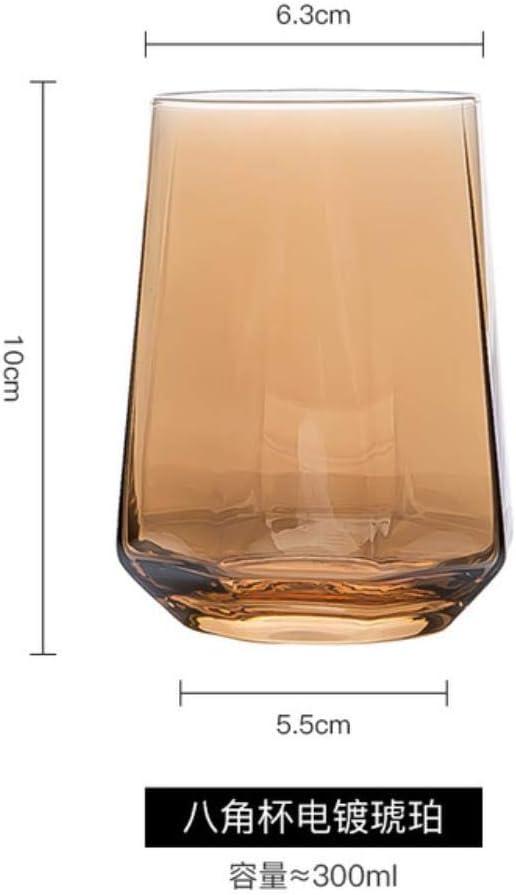 XUYI Tazas de Vidrio Vaso de Whisky Vaso de Vino Vasos para Beber Tazas de café Copa de Jugo Vaso de Cerveza, ámbar