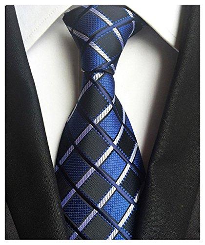 Wehug Men's Classic Plaid Tie Silk Woven Necktie Jacquard Neck Ties For Men LH0002