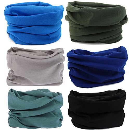 Multi Scarf - 16-in-1 12PCS/8PCS/6PCS Multifunctional Headwear yoga Sports Stretchable Casual Headband Seamless Uv Solid Moisture Neckwarmer Headwrap Mask Bandana Scarf (6PCS-DHS J)