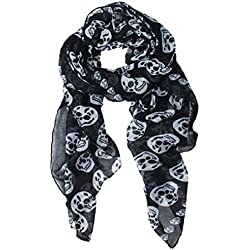 Dealzip Inc Fashion Skull Pattern Black Soft Long Chiffon Girly Scarf Wrap Shawl Scarves Stole for Women, Ladies and Girls