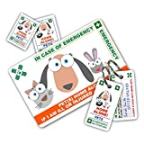 PET Home Alone PREMIUM Card Pack - In Case of Emergency (I.C.E.) Card with Key Rings from ICEcard. Wallet size card with WRITABLE reverse for Contact Details of Friends, Family or Neighbours who will look after you pet(s) if you are ill or injured (Premium)